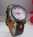 Наручные часы унисекс с британским флагом коричневые