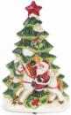 Декоративная музыкальная статуэтка «Санта у елки» 30см с LED-подсветкой