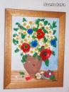 Картина «Полевые цветы» с малиной и яблоком