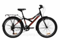Велосипед ST 24« Discovery FLINT Vbr с багажником зад St, с крылом St 2020 (черно-оранжевый с серым)
