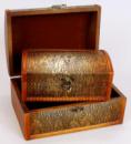 Набор из двух деревянных шкатулок «Сундучок Золотая Кожа», 22x15x11см и 18x11x8см