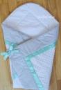 Конверт на выписку-одеяло «Горох+мятная лента»