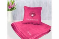 Набор подушка и плед с вышивкой I love you this much! Розовый