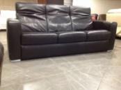 Трехместный кожаный мягкий диван б/у