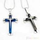 Крест мужской нержавеющая сталь синий, черный + цепочка
