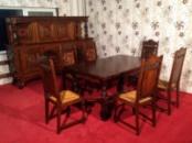 Антикварный набор мебели для столовой из натурального дуба (стол, стулья, комод). Ручная резьба