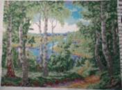 Картина бисером «Березовая роща»