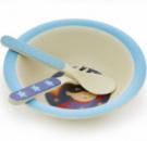 Детский набор Fissman «Супермен» миска, ложка и вилка из бамбукового волокна