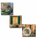 Часы настенные «Каналы Венеции» на холсте 3х секционные