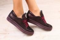 Женские криперы, бордовые, кожаные, на шнурках