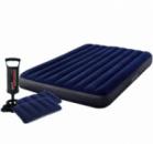 Надувной матрас Intex 64765, 152 х 203 х 25 см, с двумя подушками, ручным насосом. Двухместный