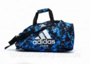 Спортивная сумка рюкзак Adidas, синий камуфляж с серебристым логотипом Judo