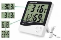 Термометр улич и дом., гигромитр, часы, будилник,выносной датчик HTC-2