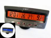 Часы автомобильные VST 7045V с индикацией заряда АКБ (с вольтметром), и двумя термо датчиками (две подсветки)
