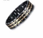 Мужской керамический браслет с магнитами и позолоченными вставками из н.с.