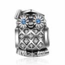 Мудрая сова Пандора шарм с синими глазами серебро 925