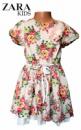 Платье детское бежевое с цветочным рисунком, с подкладкой, бренд «Zara»