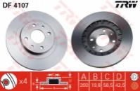Передний тормозной диск вентилируемый TRW df4107 для ВАЗ 2110-70 14«