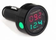 Автомобильный вольтметр термометр 2 в 1 в прикуриватель