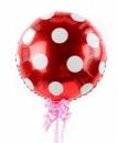 Фольгированный шар горох красный полька 44 см