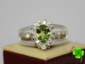 Кольцо, серебро 925, родий, натуральный ПЕРИДОТ ХРИЗОЛИТ