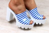 Женские кожаные босоножки на устойчивом каблуке