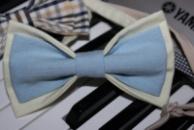 Галстук-бабочка голубая с желтым, двойная/Краватка-метелик блакитна з жовтим, подвійна