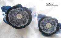 обруч и заколка синий кружевной цветок