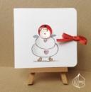 Новогодняя открытка ручной работы Снеговик