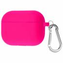 Силиконовый футляр с карабином для наушников AirPods Pro Розовый / Hot Pink