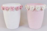 Ваза фарфоровая Bona 21см «Золотой сад» Wide pink glass with roses