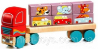 Деревянная игрушка Тягач с кубиками LМ-14 Cubika