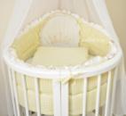Комплект постельного 8в1 в овальную кроватку Корона+клетка(бежевая)