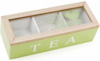 Коробка-шкатулка «I Love Tea» для чая и сахара 3-х секционная 24x9x7см