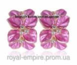 Серьги «Джесика» позолоченные, цвет розовый с кристаллами.