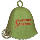 Шапка для бани «С легким паром», зеленая (Польша)