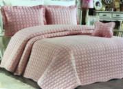Стеганое покрывало Istanbul Kare 250х260см с наволочками розовое, коттон (100% хлопок)