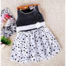 Детское платье черное с белым 7325