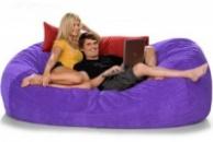 Сиреневый бескаркасный диван из велюра