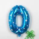 Шар цифра фольгированная 0 голубая со звездочками 80 см