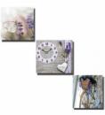 Часы настенные «Летняя прогулка» на холсте 3х секционные