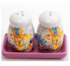 Набор для специй «Iris Flower» соль и перец на керамической подставке