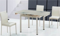 Стеклянные столы TB008-6-2 купить Украина, стеклянные обеденные столы TB008-6-2 кремовый фото Киев, столы обеденные TB00