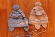 Валера шапка для мальчика с вышивкой самолетик и бубоном на завязках