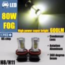 H8 H11 LED лампочка с цоколем и линзой в противотуманные фары 11W 900Lm CREE