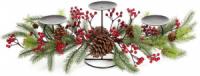 Подсвечник новогодний «Красные ягоды с шишками» на 3 свечи