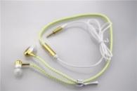 Светящиеся Наушники на молнии Zipper Earphones(с микрофоном) золотой