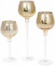 Набор 3 стеклянных подсвечника Isabelle 20см, 25см, 30см, светлое золото
