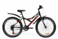 Велосипед ST 24« Discovery FLINT Vbr с крылом Pl 2020 (черно-оранжевый с серым)