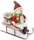 Новогодняя статуэтка-подсвечник «Снеговик на санках» 17х7х15.5см